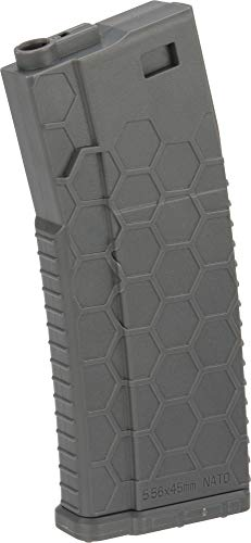 Evike Hexmag ECO Airsoft 120rds Polymer Mid-Cap Magazine for M4 / M16 Series Airsoft AEG Rifles(Color: Grey/Single)