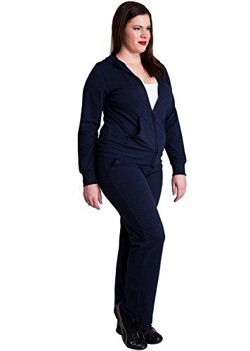 Ladies Navy Blue Plus Size Zip-up Hoodie & Drawstring Sweatpants Set