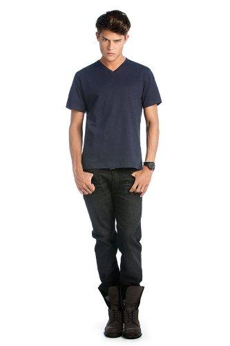 T-Shirt 'Mick Slub' mit V-Ausschnitt, Farbe:Chic Navy;Größe:S