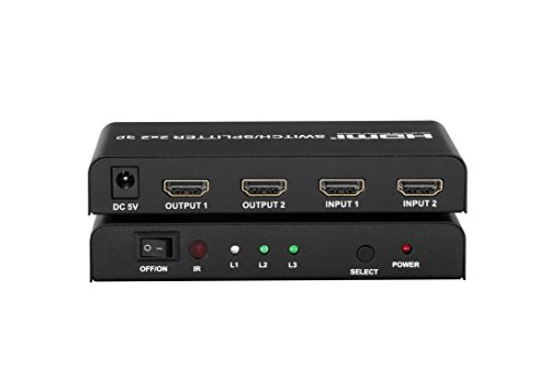 A-tech SL2202 is a 2 in 2 out with IR Remote control HDMI switch splitter2x2 .This hdmi switcher support HDMI 1.4 a,3D,1080p for roku,PS4 by A-technology