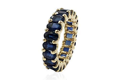 Albert Hern 5.7 ct Natural Blue Sapphire Eternity Ring 14kt Yellow Gold Band for Women Size 6 | Ideal for Weddings, Engagement, Bridal Set, Valentine's Day, Anniversary & Birthday Gift