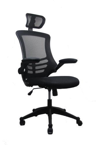 (Modern High-Back Mesh Executive Chair With Headrest And Flip Up Arms. Color:)