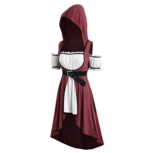 - Answerl☀ Womens Vintage Cloak Plus Size Hooded Twinset High Low Punk Shirt Gown Cosplay Mini Dress Wine