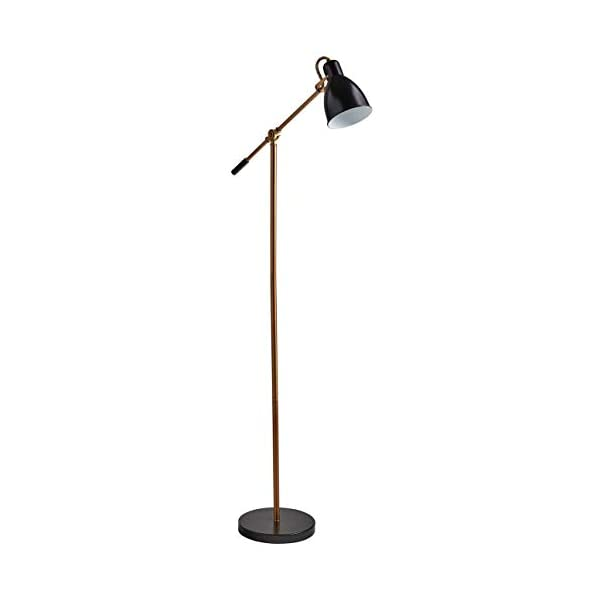 "Rivet Caden Adjustable Task Floor Lamp with  Bulb, 60""H, Black and Brass 1"