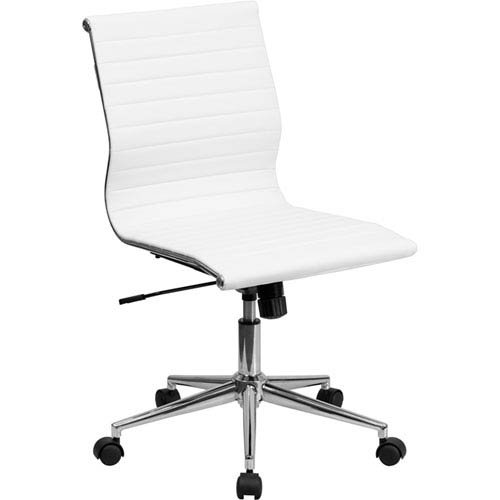 Parkside Mid-Back Armless White Ribbed Upholstered Leather Swivel Conference Chair