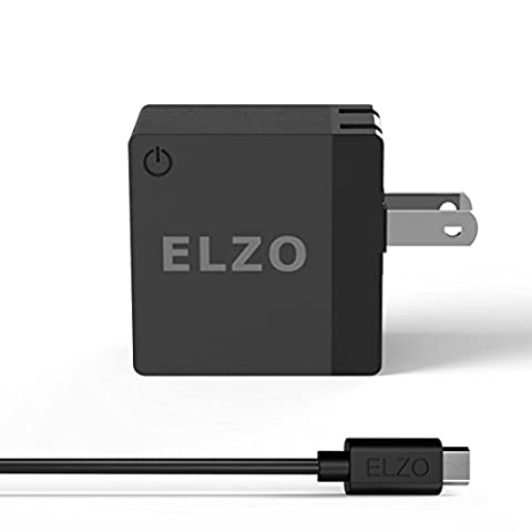 Elzo Quick Charge 2.0 18W USB Rapid Wall Charger Adapter Fast Portable Charger With A 3.3ft Micro USB Cable For Samsung Galaxy/Note, LG Flex2/V10/G4, Nexus 6, Motorola Droid/X, Sony Xperia, HTC, - 2 Micro Usb