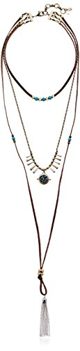 Boho-Chic Vacation & Fall Looks - Standard & Plus Size Styless - Lucky Brand Turquoise Layer Choker Bolo Necklace
