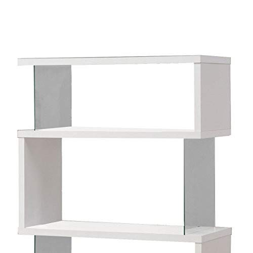 Asymmetrical Snaking Bookcase White Glossy and Clear by Coaster Home Furnishings (Image #3)