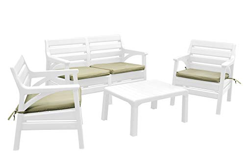 Superio Premium Weather Resistant Patio Furniture Set Cushioned Loveseat with Matching Chairs & Accent Outdoor Table 4 Color Options to Match Your Decor & Yard Backyard Poolside Furniture (White)