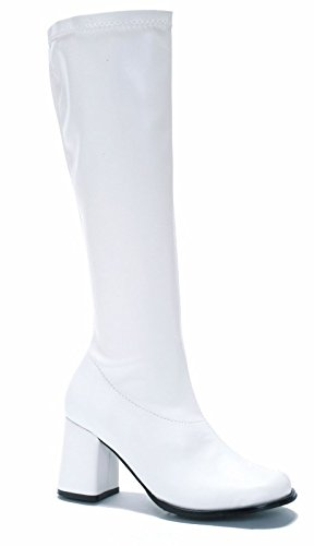Women's Shoes 3 Inch Gogo Boots with Zipper (White;5)