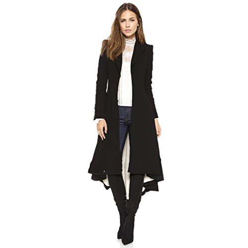 City In Left Women' s Slim Long Dovetail Turn-Down Collar Trench Coats (X-Large, Black)