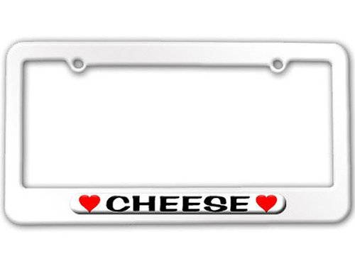 Cheese Love with Hearts - Powder Coated METAL License Plate Tag Frame - Arctic White