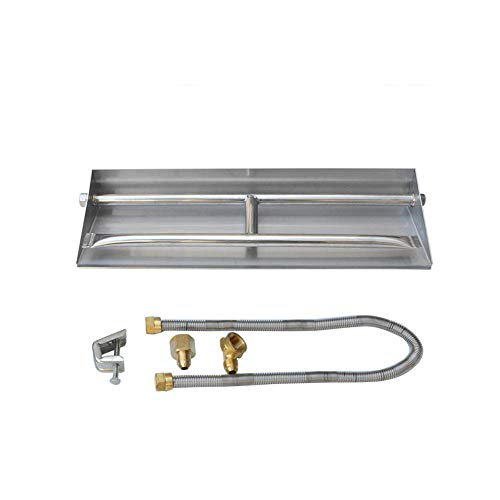 Stanbroil Stainless Steel Natural Gas Fireplace Dual Flame Pan Burner Kit, 14.5-inch