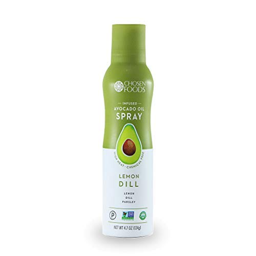 - Chosen Foods Lemon Dill Avocado Oil Spray 4.7 oz., Non-GMO, 500° F Smoke Point, Propellant-Free, Air Pressure Only for High-Heat Cooking, Baking and Frying