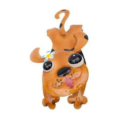 «zaunhänger wauwi chien en métal laqué marron zaundeko garten deko wackelkopf tierdeko