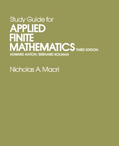 Study Guide for Applied Finite Mathematics