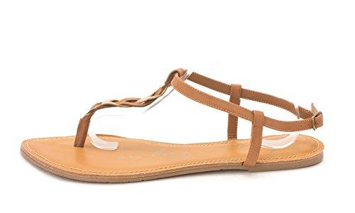 American Rag Womens Krissy Split Toe Casual T-Strap Sandals Cognac
