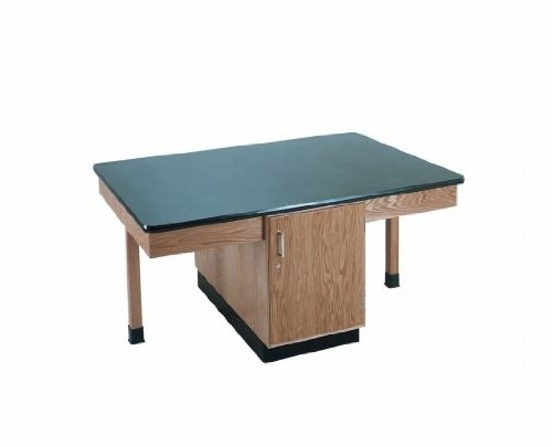 Diversified Woodcrafts 2304K Solid Oak Wood 4 Station Table with Plain Apron and Cabinet, Phenolic Resin Top, 66