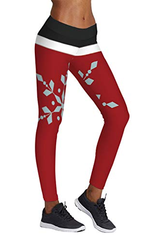 (Pink Queen Women's Fold Over Waistband Snowflake Leggings Black And Red, Christmas Pattern 20, US S-M )