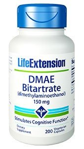 3xPack DMAE Bitartrate (Dimethylaminoethanol), 150mg, 200 V-Kaps by Life Extension