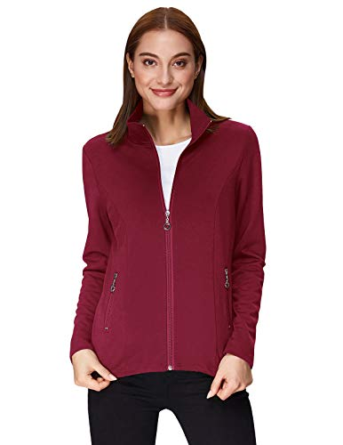 (Kate Kasin Women's Stand Collared Long Sleeve Full Zip-up Hoodie (S,Wine Red))
