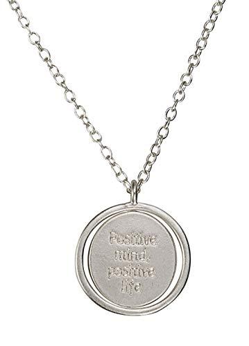 SPUNKYsoul Positive Life Mantra Spinning Medallion Necklace (Silver)