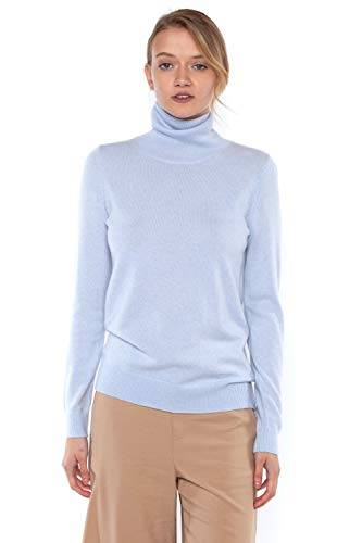 JENNIE LIU Women's 100% Pure Cashmere Long Sleeve Pullover Turtleneck Sweater (S, Sky)