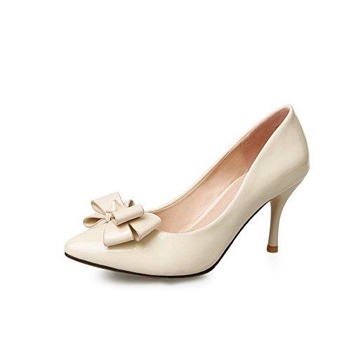 AgooLar auf Damen Rein Stiletto Ziehen auf AgooLar Spitz Zehe Pumps Schuhe Cremefarben 0a3f25
