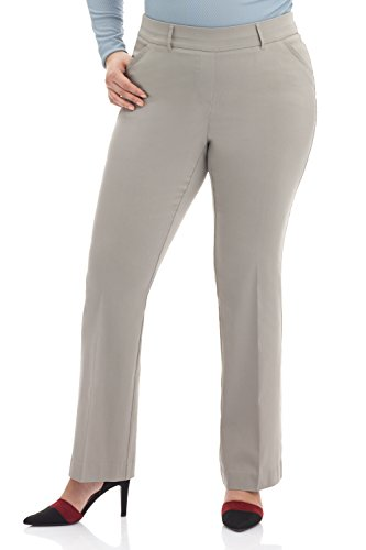 Gray Darts - Rekucci Curvy Woman Ease in to Comfort Fit Barely Bootcut Plus Size Pant (22WSHORT,Silver)