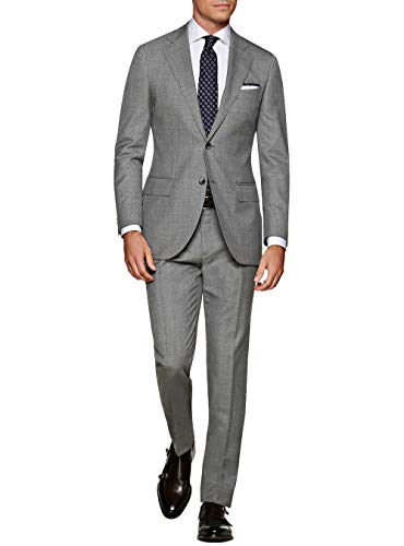 DTI GV Executive Italian 2 Button Men's Wool Suit Jacket Flat Front Pant 2 Piece (46 Regular US / 56R EU/W 40