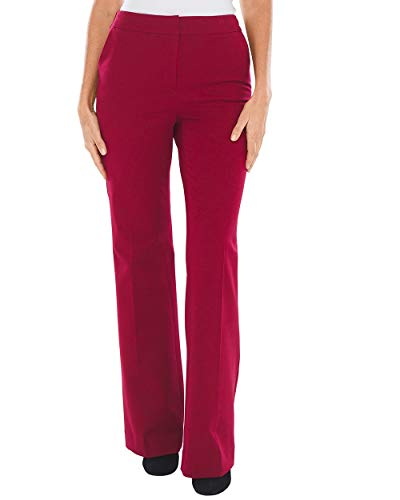 Career Linen Pant (Chico's Women's So Slimming Trousers Size 10 M (1.5 REG) Red)