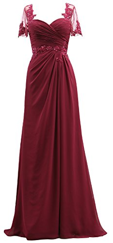 Women Sleeves MACloth Gown The Burgundy Mother Chiffon Lace of Short Dress Bride Evening aEBBwqd