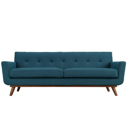 Modway Engage Mid-Century Modern Upholstered Fabric Sofa In Azure