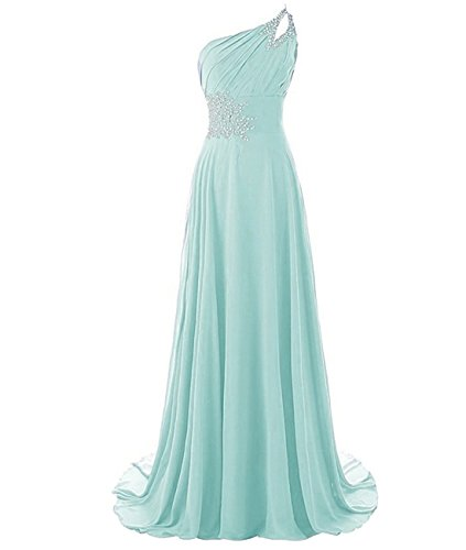 Kivary Long A Line Beaded One Shoulder Formal Corset Prom Evening Dresses Aqua US 6