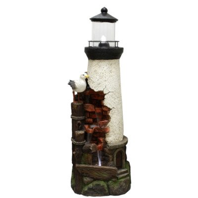 Beckett Corporation Coastal Lighthouse Fountain with Pump, Multicolor by Beckett Corporation