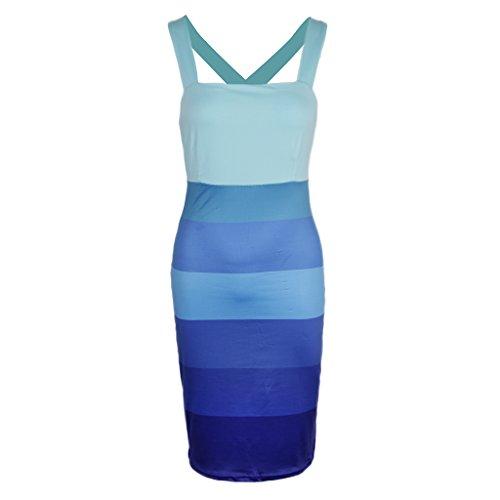 A Pierna Baoblaze Ropa Ajustado Noche Azul Poliéster Vestido Media Estampado Club Diseño Cóctel de BqwxwATH5