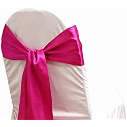 mds Pack of 1 Satin Chair Sashes Bow sash for Wedding and Events Supplies Party Decoration Chair Cover sash -Magenta