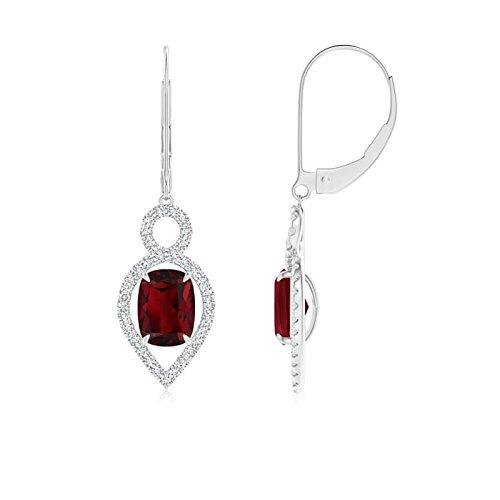 Angara Natural Garnet Earrings in Platinum XAwEa