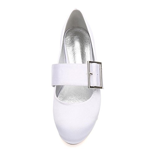YC Satin Dress 23 Buckle Closed Champagne Women's Heel Wedding Flat L Shoes Party Toe 5049 Pumps Court Shoes Wedding dZSx04q