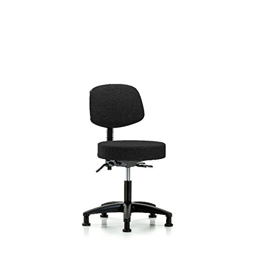 Fabric Desk Height Stool with Back - Nylon Base, Glides, Black Fabric