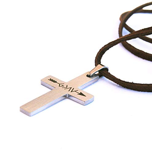 Christian Cross Necklace for Men Leather Cord Stainless Steel- God is Greater than the Highs and Lows - Baptism Gift ()