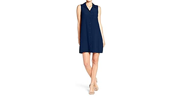 a69a7e8b403e Charles Henry Women's Woven Sleeveless Shirt Dress (Medium, Navy) at Amazon  Women's Clothing store: