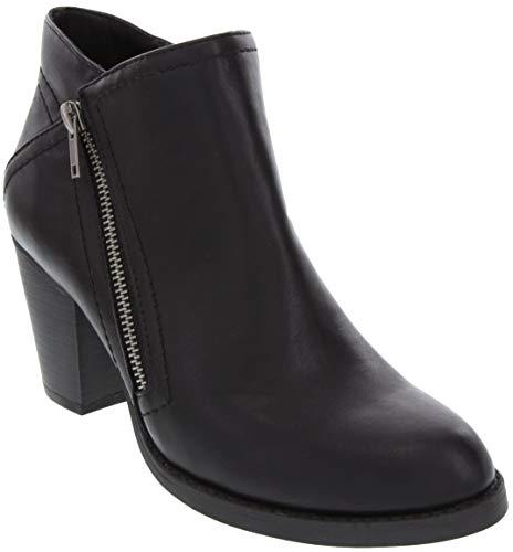 Dress Zip Boots Womens (Sugar Women's Espy Block Heel Dress Ankle Boot Diagonal Zip Ladies Bootie Black 10)