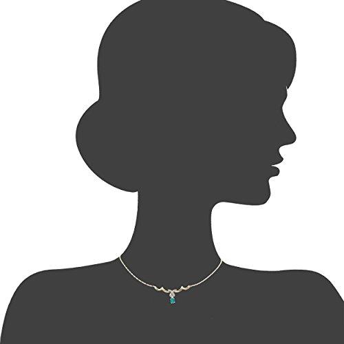 Revoni-Collier Femme-Or blanc et or jaune 9ct émeraude et diamant
