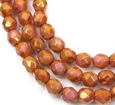 50 Firepolish Czech Glass Faceted Round Beads Luster Opaque Rose/Gold Topaz -