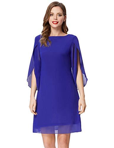 GRACE KARIN Women Casual Loose Chiffon Dress Cocktail Party Dresses Knee Length Blue L ()