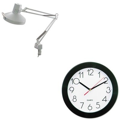 KITLEDL445WTUNV10421 - Value Kit - Ledu Three-Way Incandescent/Fluorescent Clamp-On Lamp (LEDL445WT) and Universal Round Wall Clock (UNV10421)