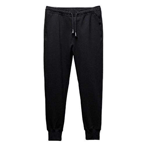 Nanxson(TM) Men's Fashion Casual Loose Fit Elastic Waist Jogging Pants Black KM0006 (5XL, black)