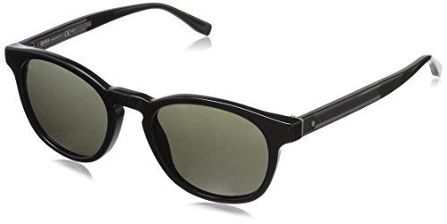 BOSS by Hugo Boss Men's B0803s Round Sunglasses, Black Dark Gray/Brown Gray, 51 - Glasses Hugo Boss Round