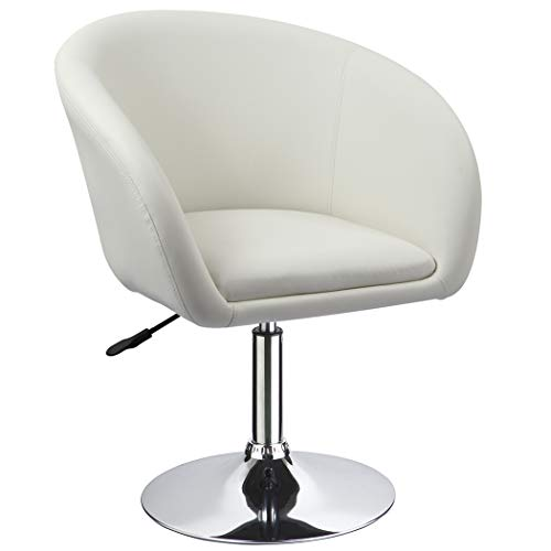 Duhome Jumbo Size Luxury PU Leather Contemporary Round Swivel Accent Chair Tufted Adjustable Lounge Pub Bar (White) ()